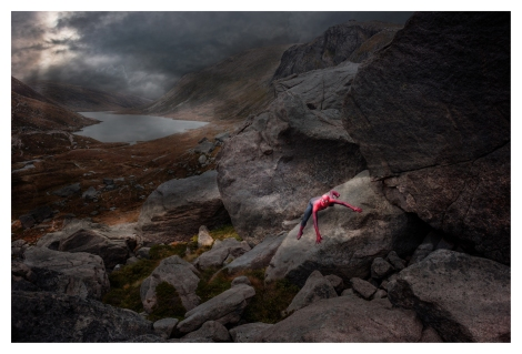 CAIRNGORMS, 10 OCTOBER 2015: Ross Lawrie (barefootandrunningblind.wordpress.com) dressed as Spiderman at Loch Avon in the Cairngorms National Park, Scotland.