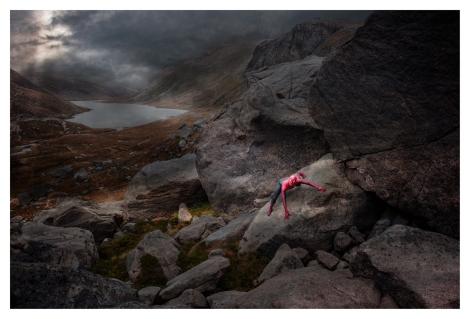 CAIRNGORMS, 10 OCTOBER 2015: Ross Lawrie (barefootandrunningblind.wordpress.com) dressed as Spiderman at Loch Avon in the Cairngorms National Park, Scotland.